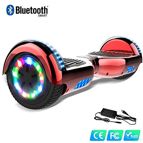 Watson Balance Board électrique 6.5 Pouces Gyropodes Flash LED Smart Scooter avec Bluetooth Chromé Multicolore Hover Auto Equilibré HHHoverboarrrd Auto équilibrage E-Skateboard 350W * 2