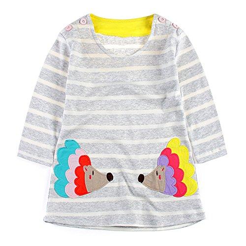 wolle Sommer Gestreift Langarm T-shirt Drucken Kleid 3 Jahr (Passende Baby-und Kleinkind-halloween-kostüme)