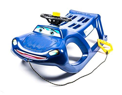 Schlitten aus Kunststoff mit Metall-Kufen, Seil, Griff, Lenkrad und Hupe besonders leicht 3,5 kg, blau