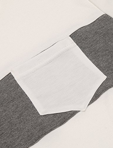 Coofandy Shirt Herren Langarm Rundhals Sweatshirt Zipper Schmal Langarmshirt Weiß