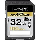 PNY Carte mémoire SDHC Elite Performance 32 Go Classe 10 UHS-1 U3 avec une vitesse de lecture allant jusqu'à 100 Mb/s
