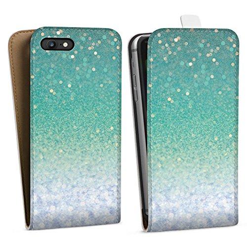 Apple iPhone X Silikon Hülle Case Schutzhülle Glitzer Grün Glitter Downflip Tasche weiß