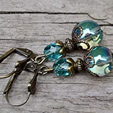 grau /& bronze Feine Vintage Ohrringe mit Glasperlen gr/ün