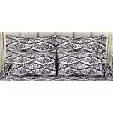 "Linenwalas Premium Italian Damask Design Yarn Dyed Leaf Print 2 Piece Cotton Pillow Cover Set - 17""x27"", Black And White"