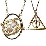 Harry Potter Joyer'a. Hermione Granger dorado Horrocrux girando Tiempo Turner y oro hilado reliquias de la muerte Collar