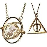 Set Di Due Collane Harry Potter - Clessidra girevole Hermione Giratempo e Death Hallow
