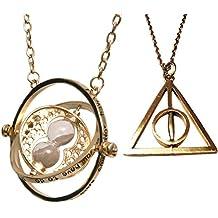 wizardy joyas Double Pack Reloj de arena y Trinagle Collar con Spinning Center Símbolo–vepackt en una netten Caja de Regalo