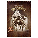 Dozili Cowboy Western Rodeo Vintage Pferd Bucking Reiten Home Business Büro Schild Aluminium Metallschild, Aluminium, einfarbig, 12