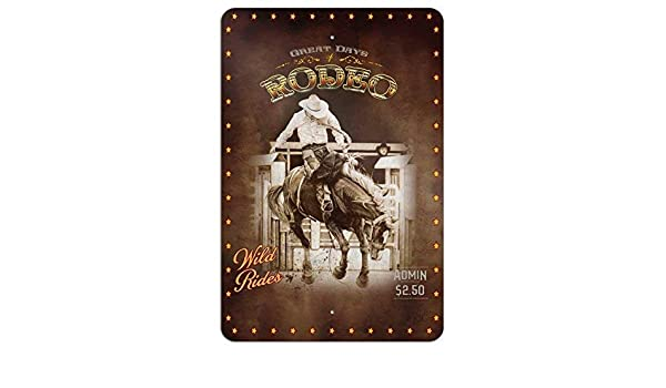 1 Couleur 8 x 12 Aluminium Dozili Cowboy Western Rod/éo Vintage Cheval Bucking Riding Home Business Office Plaque en Aluminium