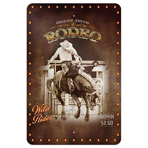 Blechschild Metal Tin Sign Aluminum Cowboy Western Rodeo Vintage Horse Bucking Riding Home Business Office Metal Sign 8 X 12 Inch - Vintage Rodeo
