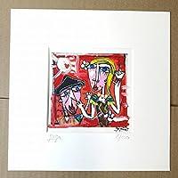 quadro moderno su tela, titolo (le carezze) Riproduzione su tela con retouche, olio su tela, opera certificata di Alessandro Siviglia 15x15 cm con passepartout 23x23 cm foro centrale 12x12 cm