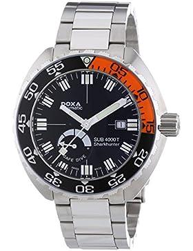 DOXA SUB 4000T Sharkhunter Sapphire bezel Herren Automatik Uhr mit schwarzem Zifferblatt Analog-Anzeige und Silber...