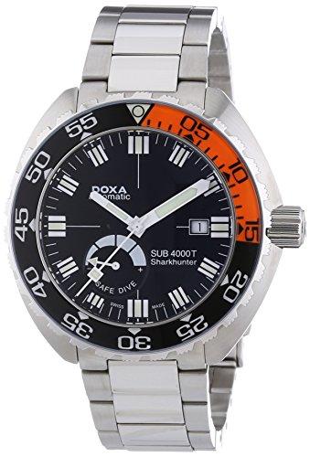 DOXA SUB 4000T Sharkhunter Sapphire bezel Herren Automatik Uhr mit schwarzem Zifferblatt Analog-Anzeige und Silber Edelstahl Armband 876.10.101.10