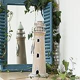 Antikas - Leuchtturm aus Holz, Skulptur als maritime Deko, Zimmerdeko, Bad, 45 cm