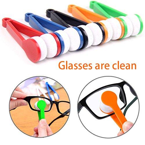 Alemin Mini Sonnenbrille Pinsel Brille Mikrofaser Brillenreiniger Reinigungsbürste Weiches Waschwerkzeug für den Alltag (Farbe zufällig)