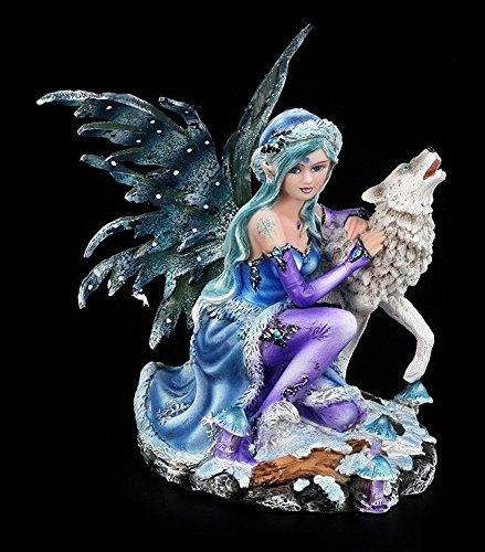 Kleine Elfenfigur - Sitzend mit Wolf - Elfen Figur Elfe Fee Fairy Deko