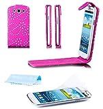 Samsung Galaxy S3 NEO & S3 | iCues Glitzer Klapp Tasche Pink | [Display Schutzfolie Inklusive] Strass Glitzer Glitter Luxus Bling Damen Frauen Mädchen Leder - Imitat Book Klapphülle Schutz Etui Handytasche zum aufklappen Flip Case Schutzhülle Booklet Hülle Wallet