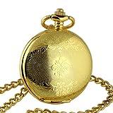 Herren mechanische Taschenuhr Geschenk Handaufzug zeitlos vergoldet Umhängeuhr