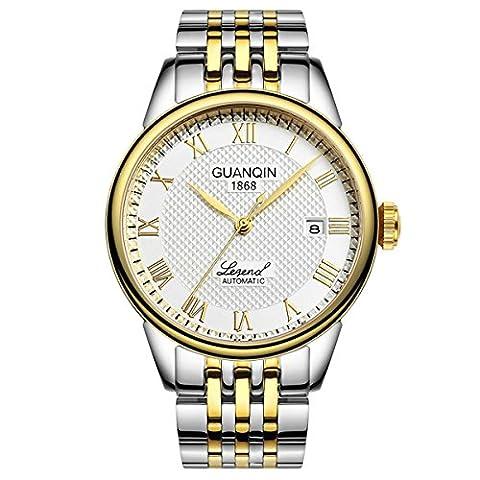 guanqin Herren Analog Armbanduhr Display Sport beliebten Marke Automatische Mechanische Automatik Edelstahl Business Armbanduhr Datum Kalender Wasserdicht Silber Gold Weiß