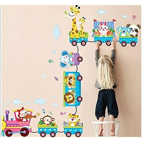 Rainbow Fox Treno animali dello zoo scimmia, Panda, Giraffa, Leone, Elefante Nursery Room stamza Kindergarten envionmental vinile Wall Decal - Scimmia Treno