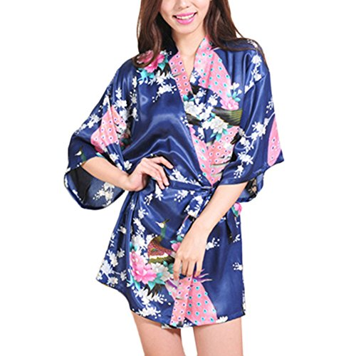 Waymoda Women Luxury Silky Satin Evening Dressing Gown, Ladies Peacock and Blossoms Pattern Kimono Pajamas, 10+ Color, 4 Sizes Optional - Short style