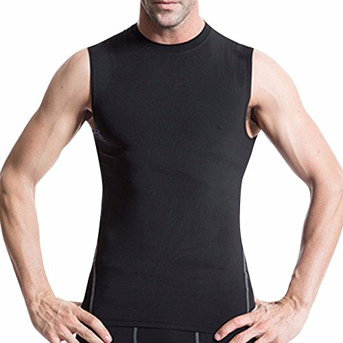 YiZYiF Herren Ärmelloses Kompressionsshirt Cool Compression Fitness T-Shirt Tank Top Größen in M, L, XL, XXL Schwarz XL