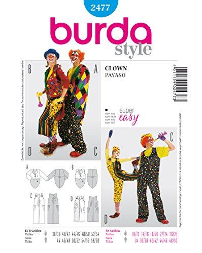 Burda 2477 Schnittmuster Kostüm Fasching Karneval Clown (Damen & Herren, Gr. 36 - 56/44 - 60) Level 1 super (Kostüme Clown Plus Size)