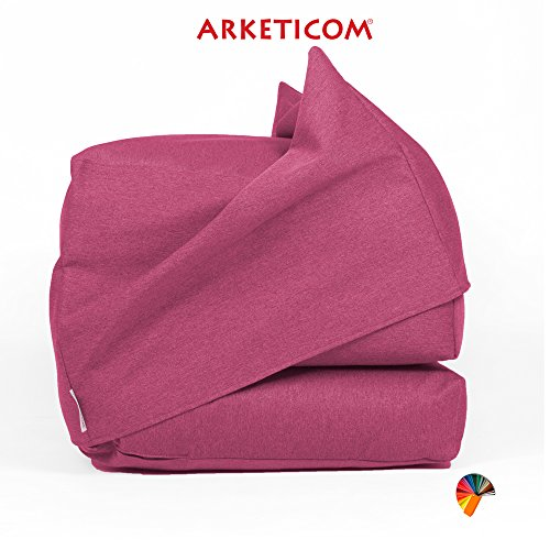 Arketicom FU-TOUF Weicher Hocker, der zum Klappbett wird Klappbare Matratze oder Klappstuhl für Gäste Puff Room in Futon Stoff Gepolstert in Styroporkugeln 63x63x45 / 190x63x15 (Creme) (rosa Fuchsie)