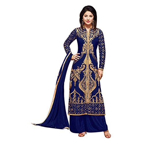 Fashion Storey Georgette Embroidered semi stitched Salwar suit (Blue)