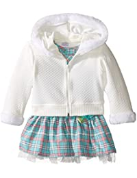 Youngland Baby Girls' Plaid Dropwaist Dress and Knit Hoodie