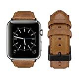 Tervoka Apple Watch Armband 38mm, Wax Series iWatch Leder Uhrenarmband Armbänder für Apple Watch Series 3, Series 2, Series 1, Sports, Edition, Hellbraun + Schwarz Schnalle