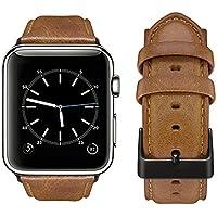 Tervoka Correa Apple Watch 42mm(44mm Series 4), Correa Cuero Genuino de Primera Calidad, Reemplazo Clásico para Apple Watch Series 4/3/2/1, Marrón Oscuro + Hebilla de Negro