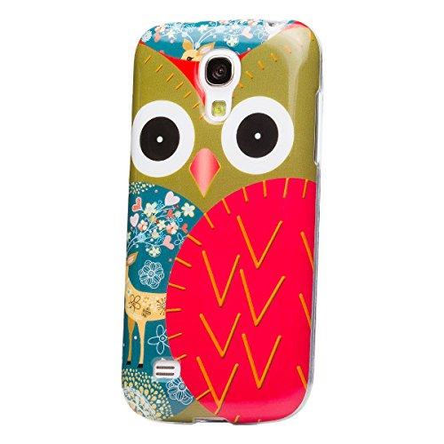 Samsung Galaxy S4 MINI | flores iCues Diseño caso de TPU búho búho búho con los ciervos | Señoras de las mujeres de las muchachas de gel de silicona adorno del modelo de piel protectora de protección [protector de pantalla, incluyendo] Cubierta Cubierta Funda Carcasa Bolsa Cover Case