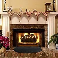 Alfombra resistente al fuego para chimenea, alfombra ignífuga para chimenea, alfombra para fogatas, manta ignífuga de fibra de vidrio semirredonda para hogar, color negro