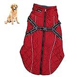 Petacc Hundejacke Winter Outdoor Hunde Wintermantel Hundemantel Warme mit Verstellbaren Riemen und Reflektierenden Streifen für Mittlere und Große Hunde (XL, Rot)