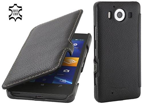 StilGut Book Type Case mit Clip, Hülle aus Leder für Microsoft Lumia 950/950 Dual SIM, schwarz