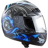 Protectwear H510-11-BL Casque de moto intégral, mat noir, avec Motif de Dragon en bleu, Taille: M