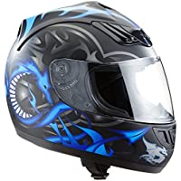 Casco moto blu H-510-11BL design drago - M - Casco Blu