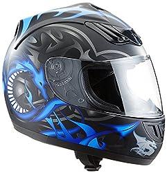 Protectwear H510-11BL-M Motorradhelm, Integralhelm mit Drachendesign, Größe M, Schwarz/Silber/Blau