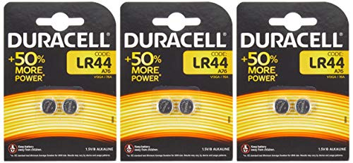 Duracell Knopfzelle Alkaline, LR44 / LR1154 / V13GA / 4276, 2er Blister