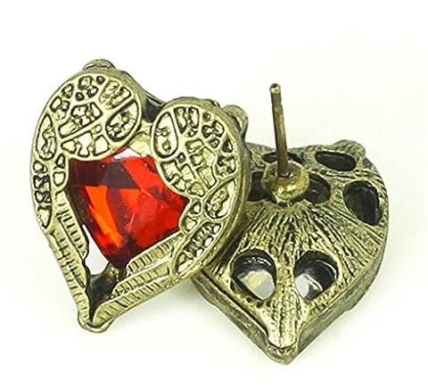 Minifamily® Doré Cœur Aile Rouge temps Pierre gemme crystal Pendants Boucles d'oreille à tige sont livrés avec gratuit Unique Bague et bracelet en
