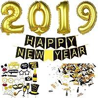 Silvester Deko 2019 Silvester Dekoration Set | Happy New Year Girlande + Riesige Folienballons + Neujahr Fotorequisiten Masken Konfetti. Neujahrsdeko / Silvesterpartydeko Accessoire fur Silvesterparty