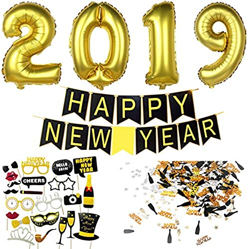 new years eve decoration 2019 happy new year banner 2019 giant foil balloons new years eve photo booth props black gold silver happy new year