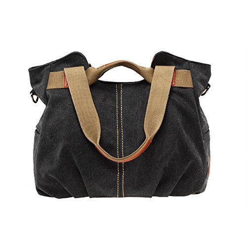 BYD - Mutil Function Female Borse a mano School Bag Shopping Bag Colorful Canvas Borse Tote Bag Borse a spalla with Double Strap Nero