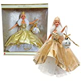 Mattel Year 2000 Barbie Holiday Season Series 12 Inch Doll - Special 2000 Edition CELEBRATION BARBIE with Golden/Ivory Dress, Christmas Ornament, Tiara, Necklace, Shoes and Doll Stand by Mattel