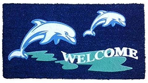 Imports Decor Beach Dolphin Vinyl Backed Coir Doormat with Flocked Pattern, 30 x 18 x 1/2