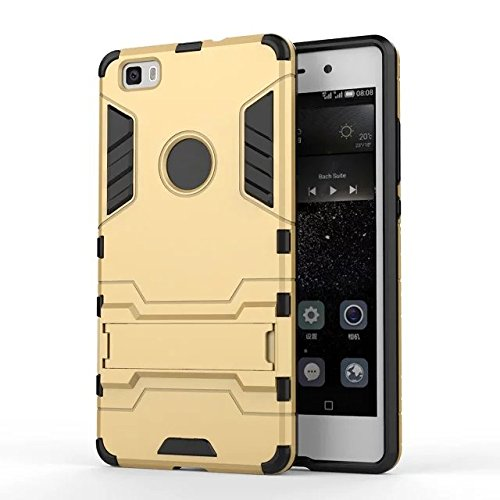 HUAWEI Case Cover HUAWEI P8 Lite Cover, 2 in 1 Neue Armor Tough Style Hybrid Dual Layer Defender PC Hard Back Abdeckung mit Ständer Shockproof Fall Für HUAWEI P8 Lite ( Color : Blue , Size : HUAWEI P8 Gold