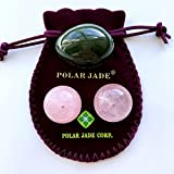 Nephrite Jade Yoni Egg and Rose Quartz Kegel Balls Bundle, for Women to Strengthen Pelvic Floor Muscles to Prevent Prolapse of Uterine and Bladder and Reduce Incontinence, Polar Jade