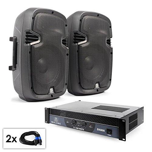PA Set SPJ Boom 10 300W PA-Boxen Lautsprecherboxen Paar mit Endstufe und Lautsprecherkabel (2x 25cm PA-Lautsprecher mit 150W RMS, 800W Verstärker brückbar, Flansch zum Stativ-Aufbau)