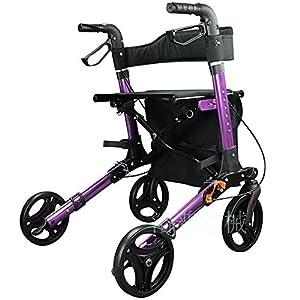 Aluminium Rollator Walker Foldable 4Wheel Trolley Lightweight Walking Frame with Seat and Basket